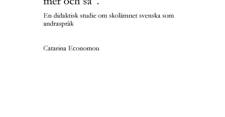 Avhandling pekar mot ett inkluderande svenskämne